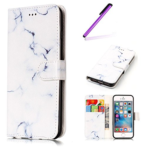 iPhone SE Case Cuir,Coque Etui pour iPhone SE,iPhone 5 5S Coque Portefeuille PU Cuir Etui,EMAXELERS iPhone 5 5S Leather Case Wallet Flip Protective Cover Protector,iPhone 5 5S Coque Dragonne Portefeui Q Marble 4