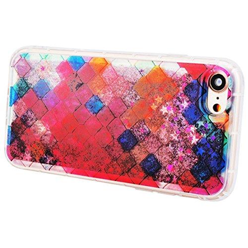 GrandEver Coque iPhone 7 Plus Glitter Liquide à Paillette Souple TPU Silicone Gel Transparente Case avec Bumper à Motif Design Dessin Animé --- Couronne Carré
