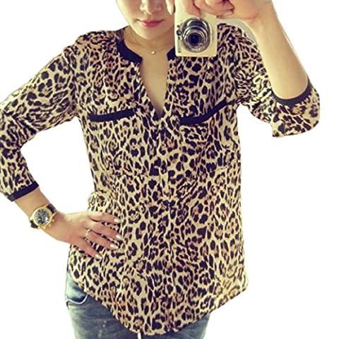 Sweat-Shirt,Malloom Mousseline De Soie Chemise à Manches Longues Nouvelle Femmes Imprimé Léopard Occasionnels Blouses Minces (S)