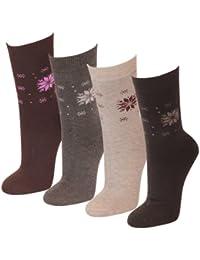 Lavazio® 6 bis 24 Paar warme Damen Thermosocken Motiv'Schneeflocke' in 4 Farben