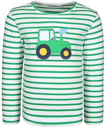 zoolaboo Langarmshirt Jungen Traktor Tobi, Gestreift in Weiß/Grün, Größe 68