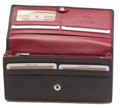 Portafoglio da Donna Visconti in Morbida Pelle Collezione Colorado CD21 Nero / Rosso