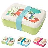 Kaufdichgruen Kinder Bento Lunchbox aus Bambus I Brotdose mit extra Snack Box I Mädchen und Junge Motiv Brotbox – Fuchs für Kindergarten I Lunch Set To Go BPA frei und 100% lebensmittelecht