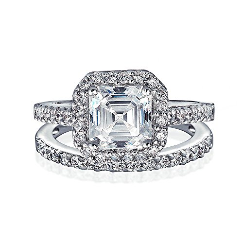 Im Art déco-Stil 2 CT Square Solitaire Asscher Cut AAA CZ Halo Engagement ebnen Hochzeit Band Ring 925 Sterling Silber - Ring 2ct Engagement Cz