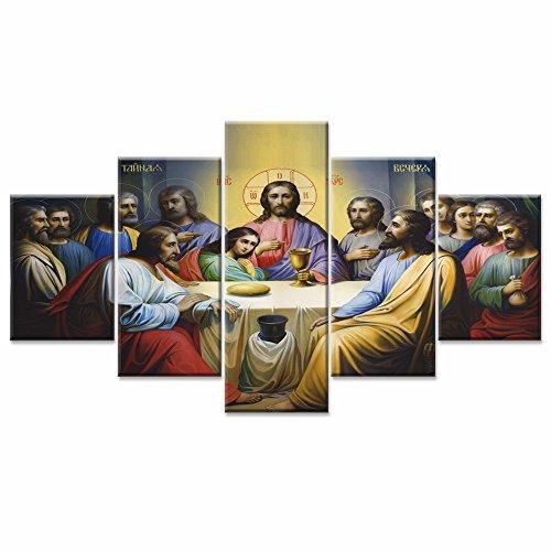 Jesús la última cena lienzo pared arte arte decoración del hogar para sala de estar moderno imágenes fotos 5Panel HD de gran tamaño impreso pintura enmarcado listo para colgar...