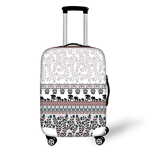 Travel Luggage Cover Suitcase Protector,Kitchen Decor,Vintage Elephants Floral Safari Design Border Banner Pattern Ribbon Pattern,White Pastel Purple,for TravelXL 29.9x39.7Inch - Spinner Banner