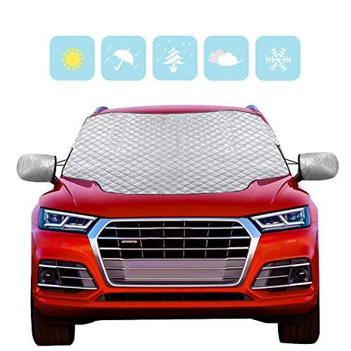 Karvipark Auto Frontscheibenabdeckung, Magnetisch Windschutzscheibe Abdeckung mit Seitenspiegelabdeckung,Frontscheibe für Winter Schneeabdeckung und Scheibenwischer UV-Schutz-SUV-Modell(157×126cm)
