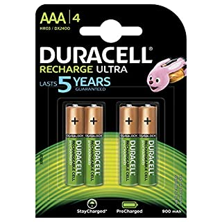 Duracell Rechargeable Rechargeable Ultra AAA HR03 900 mAh AAA Batteries, 4 Batteries