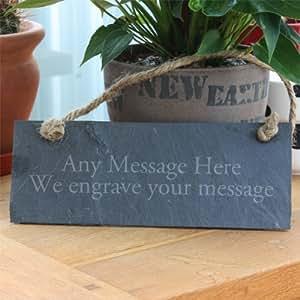 Plaque rectangulaire en ardoise à personnaliser Motif gravé avec un message