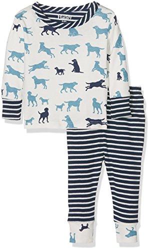 Hatley Baby-Jungen Zweiteiliger Schlafanzug Mini Pyjama Set, Weiß (Pup Play 100), 18-24 Monate