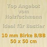 10mm Birke Sperrholzplatte Qualität B/BB (50 x 50cm) GP 48,36 €/m²