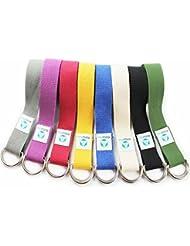 """Correa para yoga """"mandira""""/Yoga-belt cinturón 100% de algodón con esquinas de metal-Anillo-cierre/250 x 3,8 cm/disponible en diferentes coloures negro"""