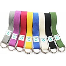 Correa para yoga mandira/Yoga-belt cinturón 100% de algodón con esquinas de metal-Anillo-cierre/250 x 3,8 cm/disponible en diferentes coloures azul