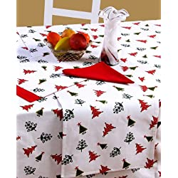 Homescapes Mantel de algodón con temática de árboles de navidad 138 x 228 cm