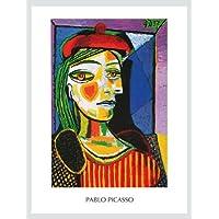 Pablo Picasso Femme au Beret Rouge poster Stampa Artistica con cornice in alluminio nero–Spedizione gratuita, argento, Alu Rahmen in silber matt