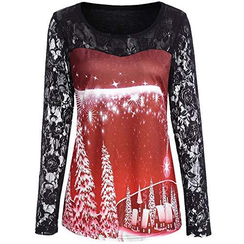 Produktbild Berimaterry Damen Herbst und Winter Lange Ärmel Blouse Frauen Weihnachten Weihnachtsmann Print Spitze Tunika T-Shirt Langarm Top