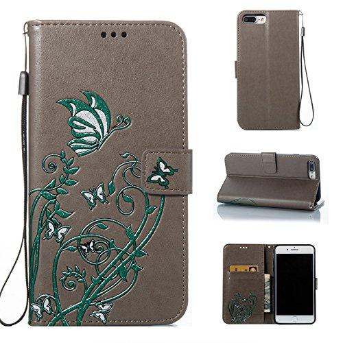 Farbdruck Prägung Blumen Muster PU Leder Brieftasche Case Cover Tasche [Magnetverschluss] mit Card Slots & Lanyard & Halter & Kickstand Für iPhone 7 Plus ( Color : Gold ) Gray