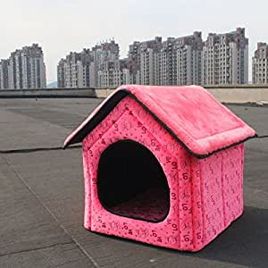 Pet Dog House Large Dog Bed Cat Bed Pet nest Dog kennel Soft Red Two Size (S:46*40*45cm(18.1*15.7*17.7inch)door size 24*24cm(9.4*9.4inch))
