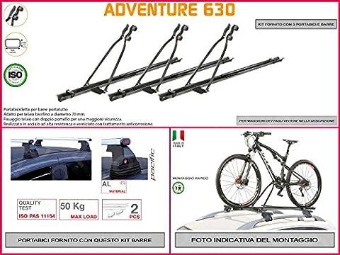 Porte-vélo de toit Ford Focus de 2004à 20115portes en acier en kit de 3pièces y compris barres de toit de toit