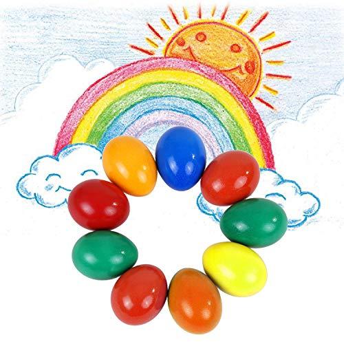 ANSUG 9 Farben Wachsmalstifte für Kinder, Sicherheit Ungiftig Palm Grip Ei Wachsmalstifte Art Doodle Coloring Wachsmalstifte für Kleinkinder Kinder Kinder für Ostern, Bildung