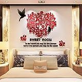 GOUZI Romantische Grafik 3D Acryl solide Romantische warme Wand Abdichtung, abnehmbare Wall Sticker für Schlafzimmer Wohnzimmer Hintergrund Wand Bad Studie Friseur