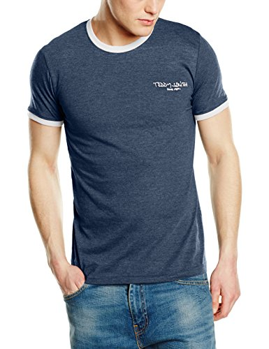 Teddy Smith Herren T-Shirt The-Tee MC Bleu (Indigo Chiné/Blanc)
