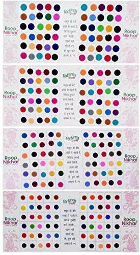 Roop Nikhar Regular Bindi Bollywood Style Plain Colored Bindis Stickers, Plain Kumkum,Indian Multicolor Bindi,Round Bindi Stickers Set of 4