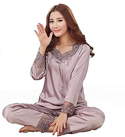 Sunjune Womens Long Sleeve Satin Silk Floral Lace Pajama Sets Sleepwear Nightwear Homewear Two Pieces (Asia M, Grey)