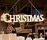 LED Aufhänger CHRISTMAS mit 48 LEDs Schriftzug Holz Deko Weihnachten