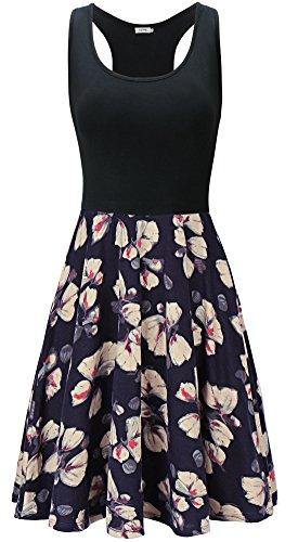oses Beiläufiges Strandkleid Sommerkleid Tank Kleid Ausgestelltes Trägerkleid Blau Blume-D40 XL ()