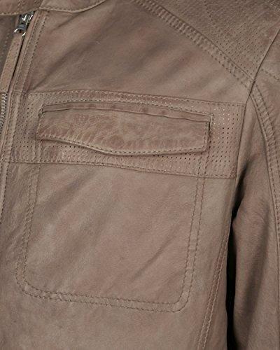 Tom Tailor Lederjacke, Herren 6070017 Echtleder Porkleder dunkel braun taupe khaki S-3XL Taupe