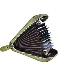 Yuhan Pretty Women RFID Genuine Leather Zipper Credit Card Holder Wallet ID Case (Green)