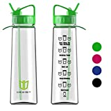 Water Bottle, Degbit [900 ml/ 32oz] BPA Free Sports Water Bottle with Straw + Time Markings, Non-Leak, Eco Friendly Durable Tritan Cycle Water Bottles Plastic drinks bottle for Outdoors and Camping (Green)