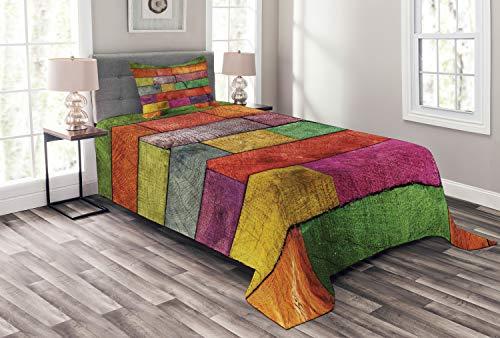 ABAKUHAUS Rustikal Tagesdecke Set, Regenbogen Timber Kunst, Set mit Kissenbezug Sommerdecke, für Einselbetten 170 x 220 cm, Mehrfarbig