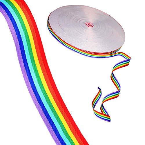 Ripsband 91,5 Meter - 1,5cm Polyester-Band mit Regenbogen -