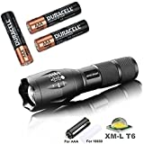amiciKart® LED Torch Flashlight 3800 Lumens, XML T6 Water Resistance 5 Modes Adjustable Focus For Camping Hiking With with Free 3 AAA Duracell Batteries