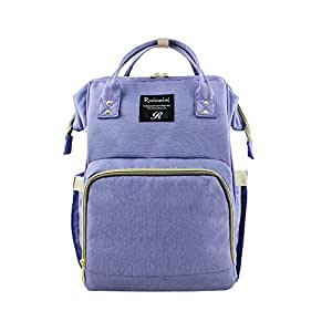 Baby Diaper Backpack Nappy Changing Bag by BeGrit Waterproof Large Capacity Rucksack Nursing Bag Purple for Mum Daddy Stylish Fashionable with One Stroller Strap