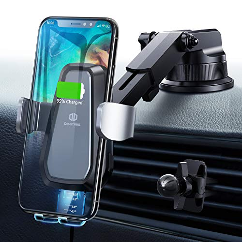 Handyhalter fürs Auto Wireless Charger Auto Handyhalterung Auto Kfz Handyhalterung 10W Qi Ladestation Auto Wireless Car Charger für iPhone 11/11Pro/XS Max/X/XR/8 Plus, Samsung Galaxy S10/S9/S8/S7 usw.