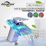 Auralum Chrom LED RGB Glas Waschtischarmatur Wasserfall Wasserhahn Kupfer Spültischarmatur für Bad Type B
