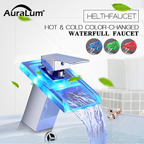 Auralum® LED RGB 3 Farbewechsel Glass Wasserhahn Chrom Wasserfall Waschtischarmatur Armatur für Bad Badenzimmer Waschbecken - 2