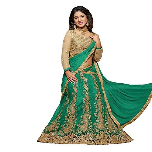 Vaankosh Fashion Women's Net Lehenga Choli (Green)