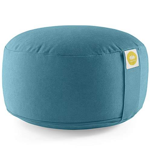 Lotuscrafts Yogakissen Meditationskissen Rund Lotus - Sitzhöhe 15cm - Waschbarer Bezug aus Baumwolle - Yoga Sitzkissen mit Dinkelfüllung - GOTS Zertifiziert -