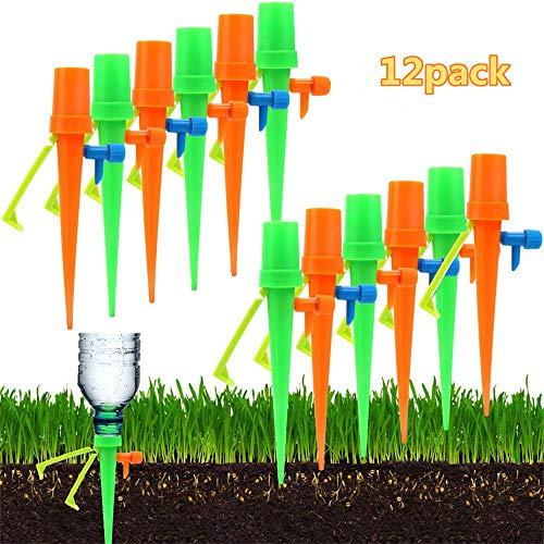 Sistema de riego automático para plantas Sistema de riego por goteo autocebado 12PCS, dispensador de agua para plantas con protección anti-desgarre para todas las botellas