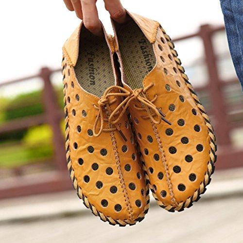 YiLianDa Herren Komfort Leder Weich Echtleder Fahren Schuhe Hellbraun