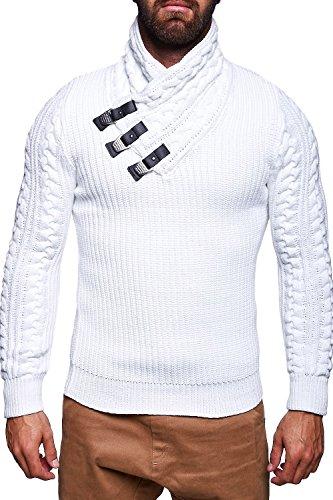 MT Styles pull en tricot avec col châle M-1011 Blanc