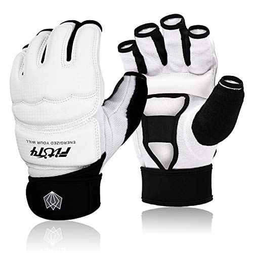 FitsT4 Halb-Handschuhe UFC MMA Training Boxen Boxsack Kickboxen Sparring Grappling Kampfsport Muay Thai Taekwondo Wrist-Wraps Stützhandschuhe für Frauen Männer Kinder
