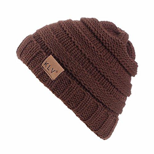 YWLINK Winter Warm StrickmüTze MäNner Frauen Baggy Crochet Winter Wolle Stricken Ski Beanie SchäDel Slouchy Caps Hut(Einheitsgröße,Kaffee)