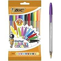 BIC Cristal Multicolour Bolígrafos Punta Ancha (1,6 mm) – Colores Surtidos, Blíster de 10 Unidades, ideal para dibujos y anotaciones