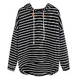 Ba Zha HeiMädchen Gestreifte Mode Pullover Frauen Casual Gestreift Hooded Pullover Mode Langarm Asymmetrie-Saum Sweatshirt Bluse Tops (Schwarz, L)
