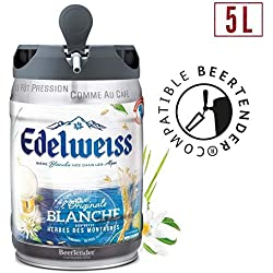 Bière - EDELWEISS Fût de biere blanche Originale aromatisée aux herbes des montagnes - Compatible Beertender - 5 L